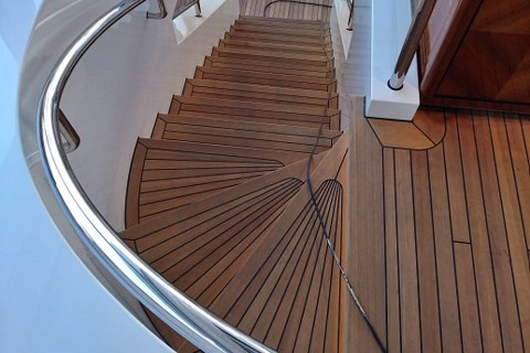 Teak wooden staircase for mega yacht by Duca Solutions