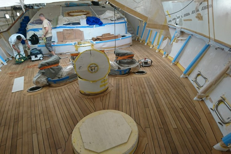 Replacement of teak covers on a super yacht by Duca Solutions