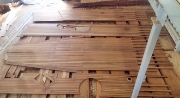 Teak deck sections produced by CNC machine