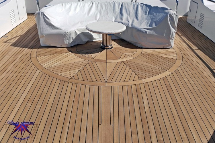 Wind rose in teak on a super yacht by Duca Solutions