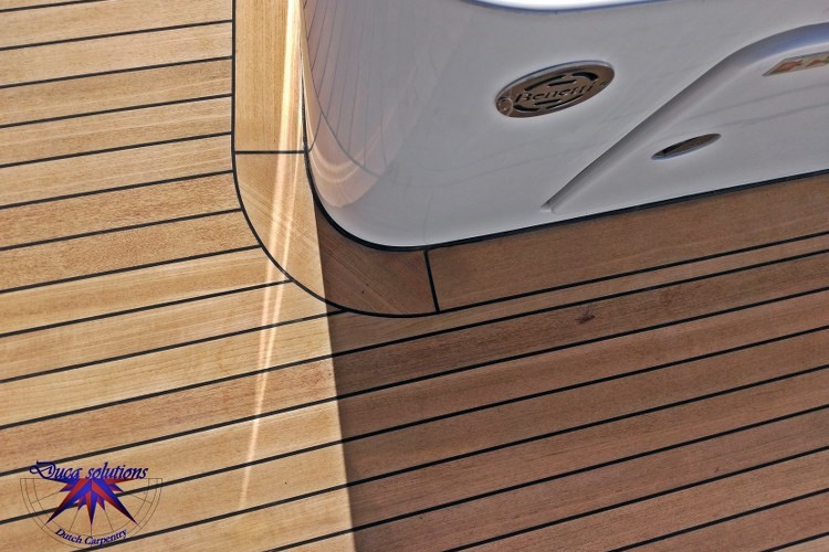 Teak deck margins on super yacht by Duca Solutions