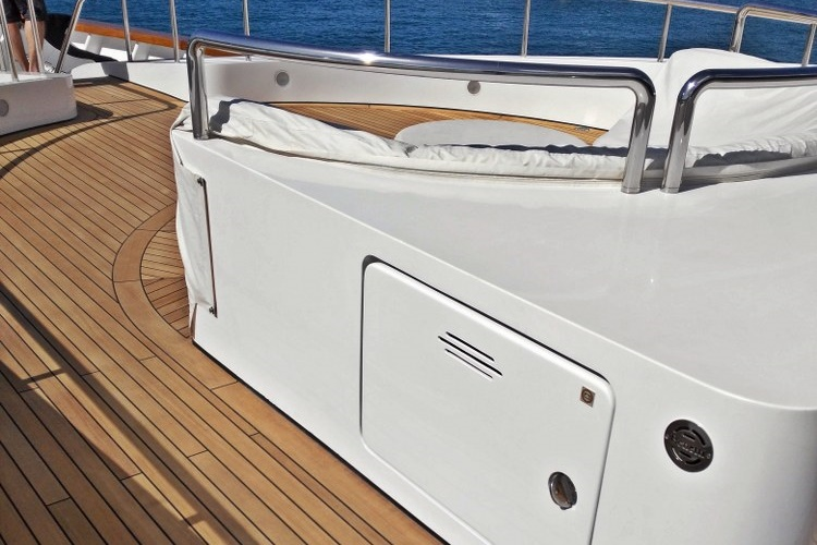 Teak deck on a mega yacht by Duca Solutions