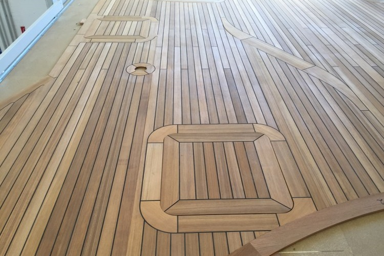 CNC prefabricated teak deck for a superyacht by Duca Solutions