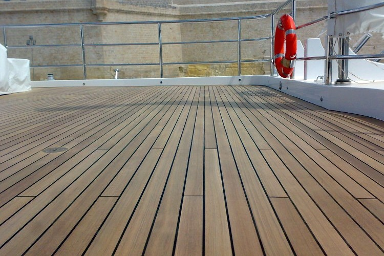 Teak deck refit on mega yacht by Duca Solutions