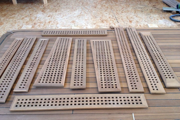 Teak grills for a super yacht by Duca Solutions