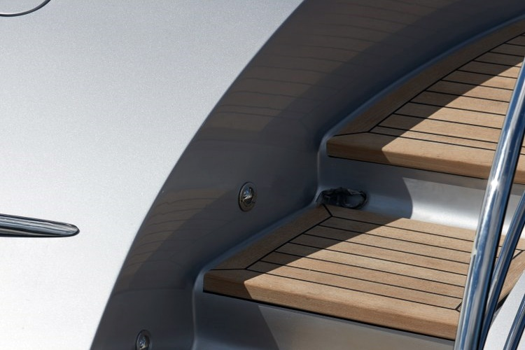 Teak deck stairs on super yacht by Duca Solutions