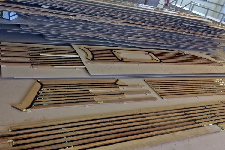 CNC prefabricated teak deck panels for a super yacht