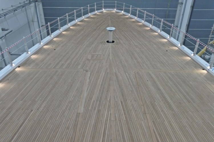 Installation of a teak deck on a mega yacht by Duca Solutions