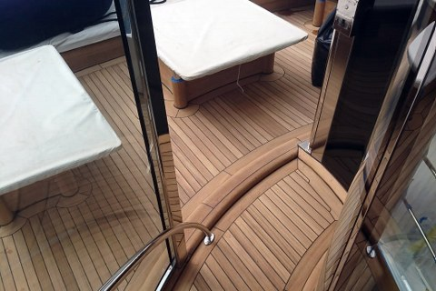 Exterior decking on super yacht by Duca Solutions