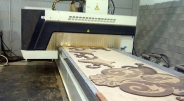 Production of deck inlays by CNC machine in progress