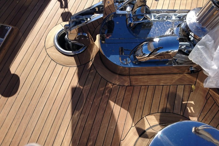 Teak deck details on a super yacht by Duca Solutions