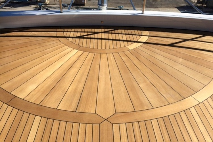 Teak deck inlay on a motor yacht by Duca Solutions
