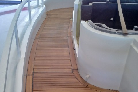 Gluing teak deck on a super yacht Duca Solutions